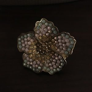 Pink, Green, and Gold Big Flower Ring